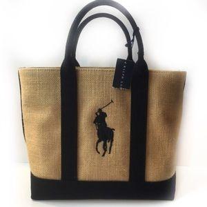 NWT Vintage Ralph Lauren Bag Tote Purse Burlap